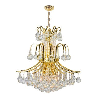 French Empire 9-light Gold Finish Full Lead Crystal Chandelier D19 in x H23 in Medium