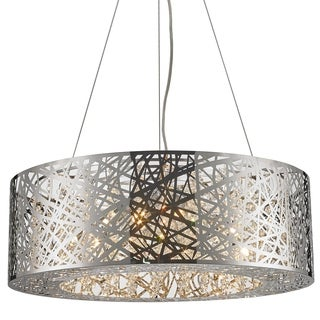 High Gloss 12-light Halogen Chrome Finish and Clear Crystal 24-inch Round Laser Cut Steel Chandelier