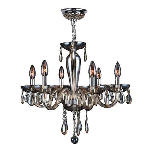 Gatsby Collection 6-light Chrome Finish and Golden Teak Blown Glass Chandelier