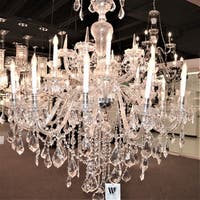 Maria Theresa 18-light Chrome Finish and Clear Crystal 48-inch Wide 2-tier Grand Chandelier
