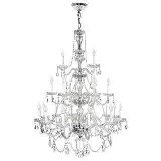 Provence Venetian Style 21-light Chrome Finish Clear Crystal Three 3-tier Chandelier