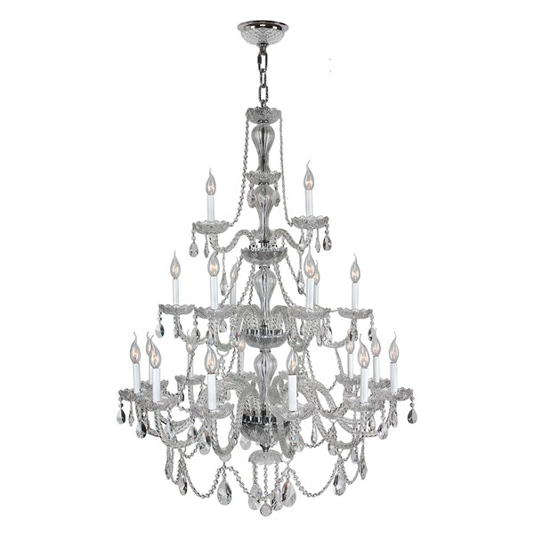 Floral Orchid Light Chrome Clear Crystal Tier Chandelier