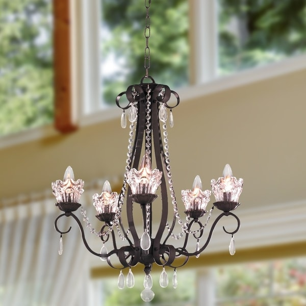 Floral Garden Collection 5-light Dark Bronze Finish and Clear Crystal Chandelier Medium