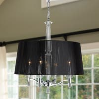 Classic Elegance 4-light Chrome Finish and Clear Crystal 18 x 20-inch Chandelier with Black String Shade