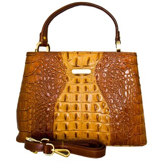 Leatherbay Italian Leather Andria Croc Print Handbag