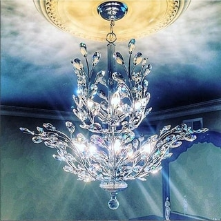 Floral Orchid Collection 8-light Chrome Finish and Crystal Medium Chandelier