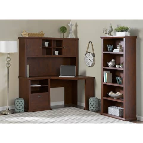 Copper Grove Senaki Corner Desk with Hutch and Bookcase in Antique Cherry