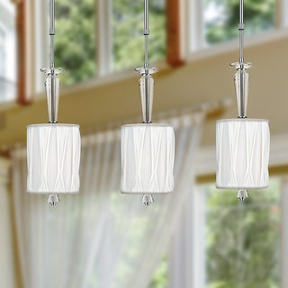 Gatsby Collection 1-light Chrome Finish and Clear Crystal Mini Pendant Light with White Fabric Shade