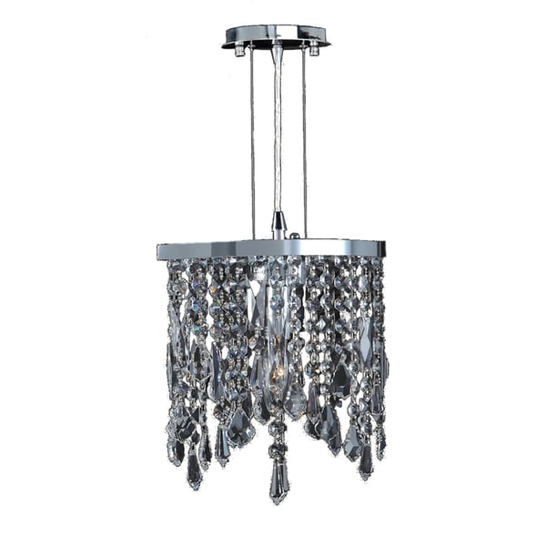 Collection 1 Light Chrome Finish And Clear Crystal Mini Pendant Light