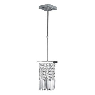 Torrent Collection 1-light Chrome Finish and Clear Crystal Square Mini Pendant Light