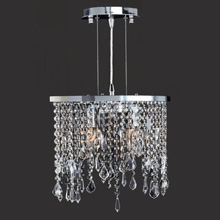 Modern Elegance 2-light Chrome Finish and Clear Crystal Oval Shape Pendant Light