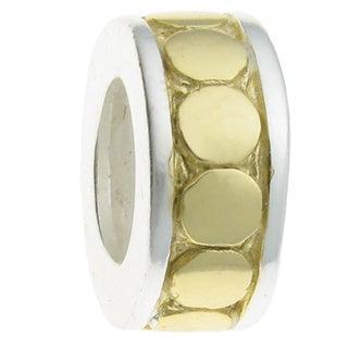 Queenberry 14k Goldplated Sterling Silver Circle Dot European Bead Charm Stopper with Rubber