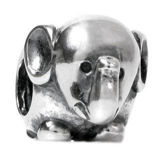 Queenberry Sterling Silver Elephant European Bead Charm