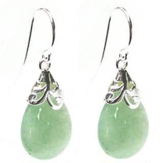 Queenberry Sterling Silver Filigree Flower Bail Teardrop Green Jade Color Aventurine Dangle Earrings|https://ak1.ostkcdn.com/images/products/10167120/P17295276.jpg?impolicy=medium