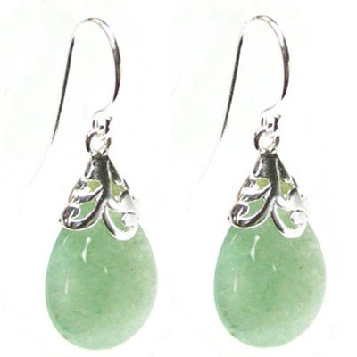 Queenberry Sterling Silver Filigree Flower Bail Teardrop Green Jade Color Aventurine Dangle Earrings