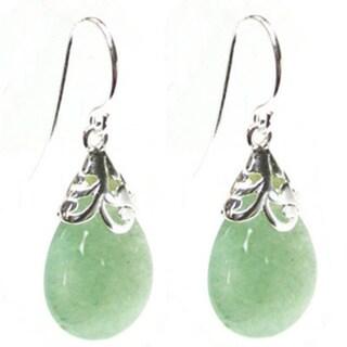 Sterling Silver Bail Teardrop Jade Color Stone Dangle Earrings