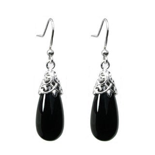 Queenberry Sterling Silver Filigree Flower Bail Teardrop Black Onyx Dangle Earrings