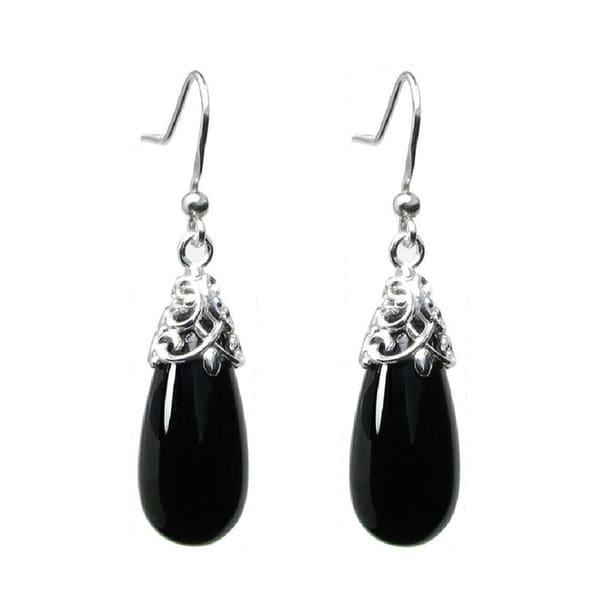 Queenberry Sterling Silver Filigree Flower Bail Teardrop Black Onyx Dangle Earrings