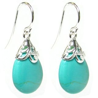 Queenberry Sterling Silver Filigree Flower Bail Teardrop Blue Synthetic Turquoise Dangle Earrings