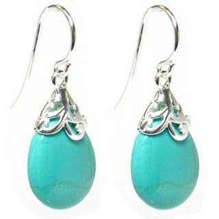 Queenberry Sterling Silver Filigree Flower Bail Teardrop Blue Synthetic Turquoise Dangle Earrings