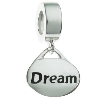 Queenberry Sterling Silver 'Dream' Dangle European Bead Charm