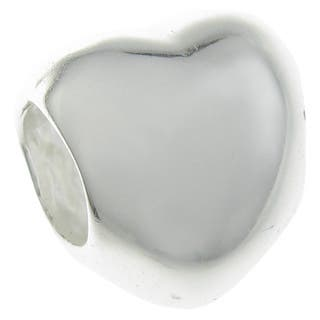 Queenberry Sterling Silver Heart European Bead Charm