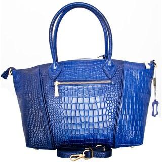 Leatherbay Italian Leather Portici Croc Print Handbag