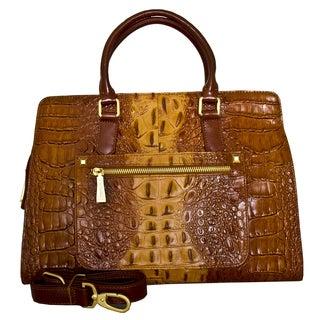 Leatherbay Italian Leather Campania Croc Print Handbag