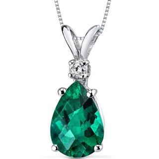 Oravo 14k White Gold Pear-cut Gemstone Diamond Accent Pendant