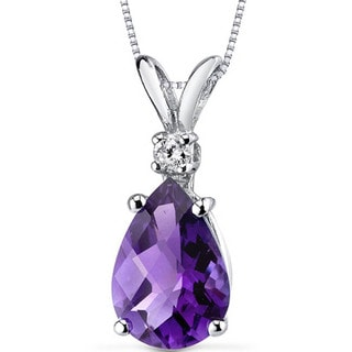 Oravo 14k White Gold Pear Cut Gemstone Diamond Accent Pendant