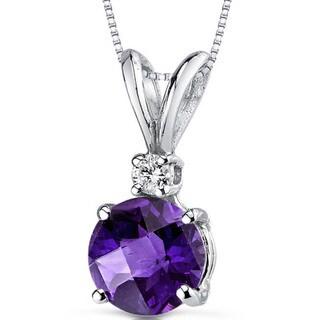 Oravo 14k White Gold Round-cut Gemstone Diamond Accent Pendant
