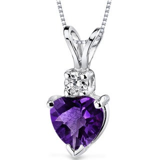 Oravo 14k White Gold Heart-shape Gemstone Diamond Accent Pendant (More options available)