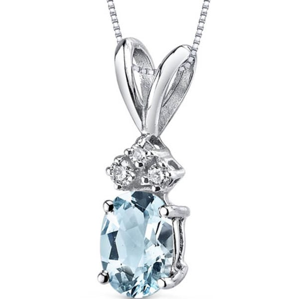 Oravo 14k White Gold Oval-cut Gemstone Diamond Accent Pendant. Opens flyout.