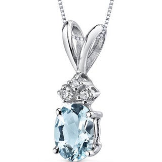 Oravo 14k White Gold Oval-cut Gemstone Diamond Accent Pendant (Option: Created Alexandrite)