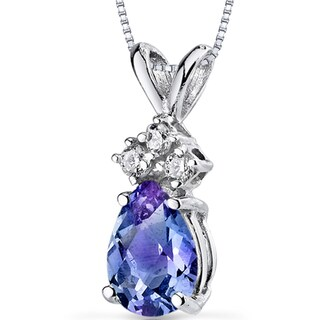 Oravo 14k White Gold Pear-cut Gemstone and Diamond Accent Pendant Necklace (Option: Created Alexandrite)