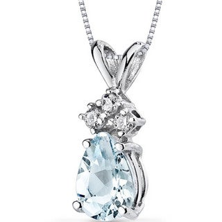 Oravo 14 Karat White Gold Pear Shape Gemstone Diamond Accent Pendant