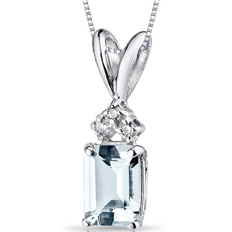 Oravo 14k White Gold Emerald-cut Gemstone Diamond Accent Pendant