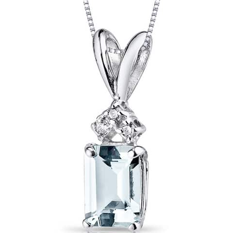 Oravo 14k White Gold Emerald-cut Gemstone Diamond Accent Pendant