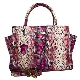 Leatherbay Italian Leather Alba Snake Print Handbag