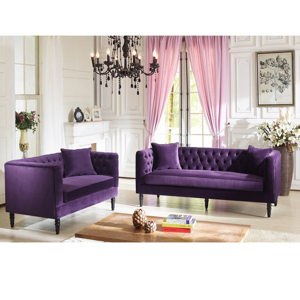 Flynn French Inspired Purple Velvet Upholstered Loveseat And Sofa Set