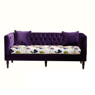 Flynn French Inspired Purple Velvet And Calico Upholstered Sofa