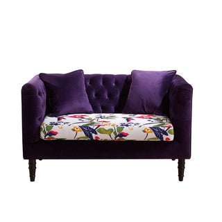 Flynn French Inspired Purple Velvet And Calico Upholstered Loveseat