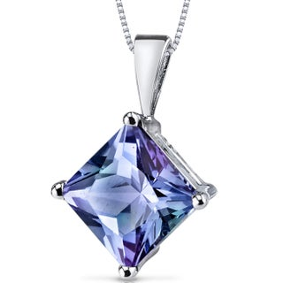 Oravo 14k White Gold Princess-cut Gemstone Pendant (Option: Created Alexandrite)