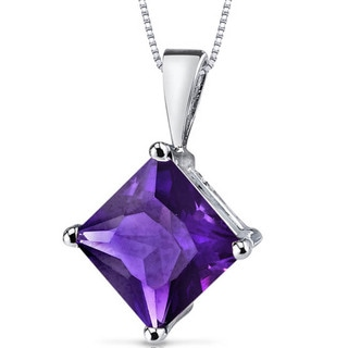 Oravo 14k White Gold Princess-cut Gemstone Pendant