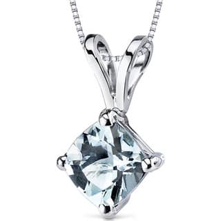 Oravo 14k White Gold Cushion-cut Gemstone Pendant|https://ak1.ostkcdn.com/images/products/10167187/P17295329.jpg?impolicy=medium