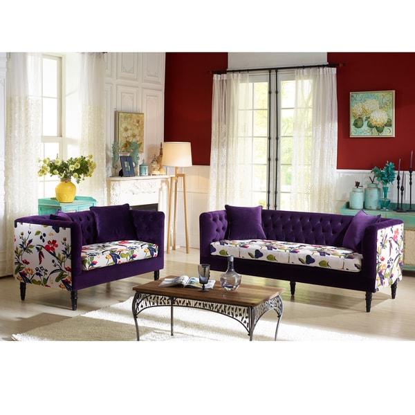 Flynn French Inspired Purple Velvet And Calico Upholstered