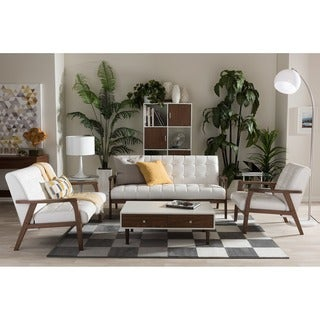 Baxton Studio Mid-century Masterpieces White Faux Leather 3-piece Living Room Set