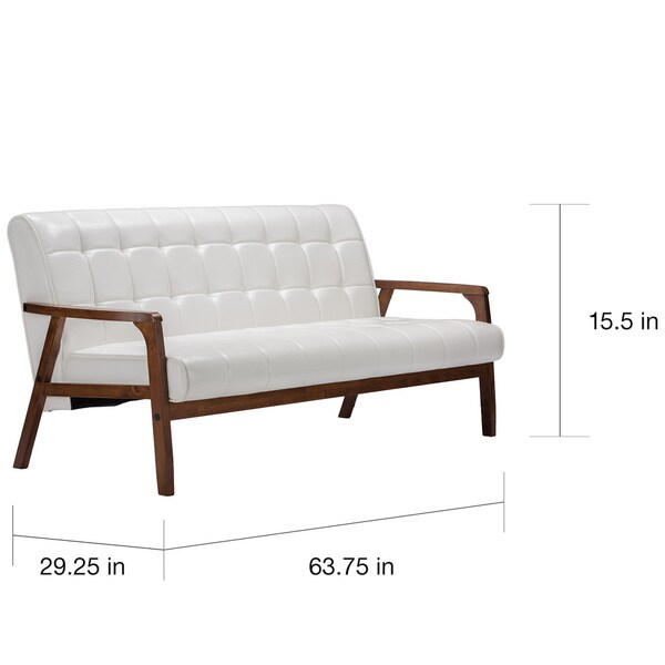 Baxton Studio Mid Century Masterpieces White Faux Leather Sofa   Free  Shipping Today   Overstock.com   17295357