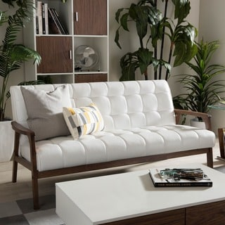 baxton studio mid century masterpieces white faux leather sofa - White Leather Sofa