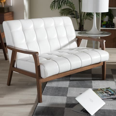Carson Carrington Karkkila Mid-century White Faux Leather Loveseat